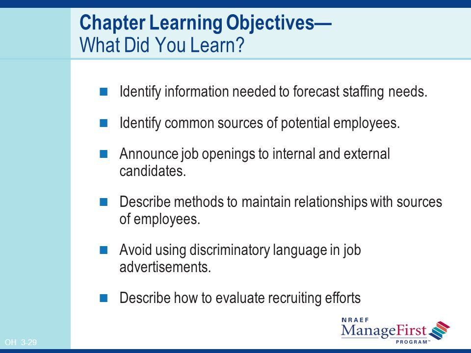 OH 3-29 Chapter Learning Objectives What Did You Learn.