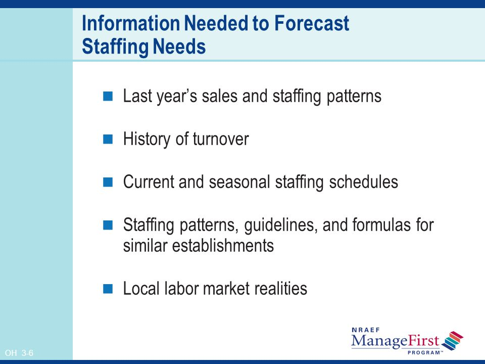 OH 3-6 Information Needed to Forecast Staffing Needs Last years sales and staffing patterns History of turnover Current and seasonal staffing schedules Staffing patterns, guidelines, and formulas for similar establishments Local labor market realities