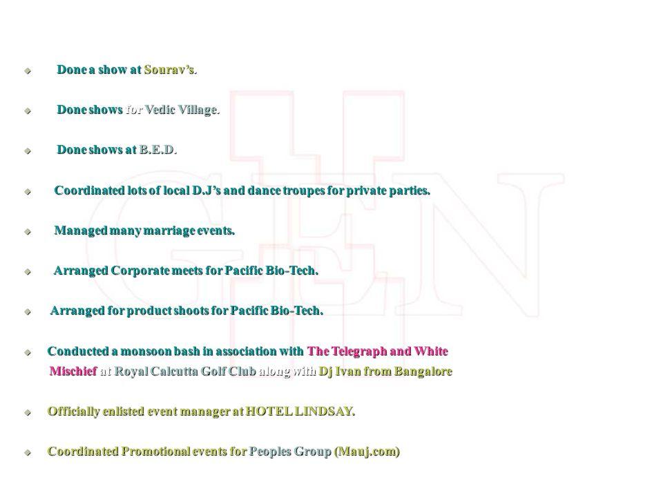 Done a show at Souravs. Done a show at Souravs. Done shows for Vedic Village.