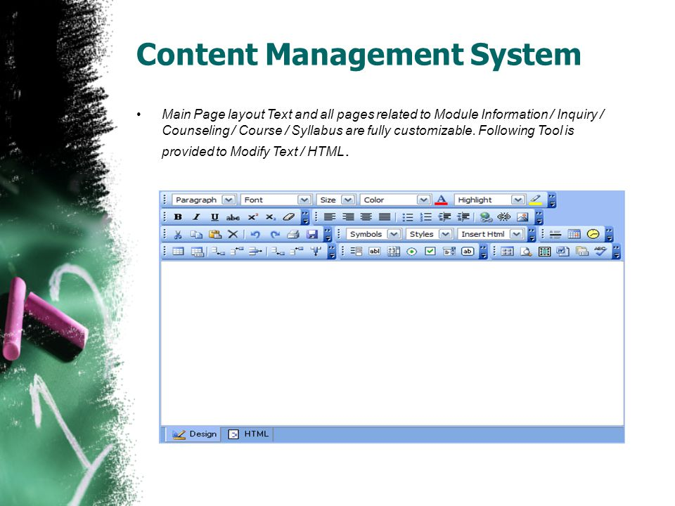 Content Management System Main Page layout Text and all pages related to Module Information / Inquiry / Counseling / Course / Syllabus are fully custo