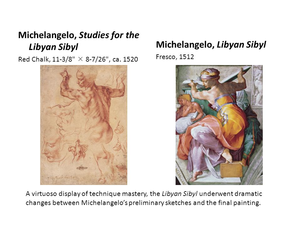 Michelangelo, Studies for the Libyan Sibyl Red Chalk, 11-3/8