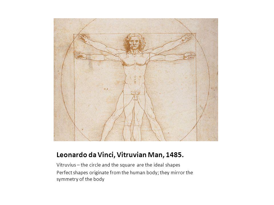 Leonardo da Vinci, Vitruvian Man, 1485. Vitruvius – the circle and the square are the ideal shapes Perfect shapes originate from the human body; they