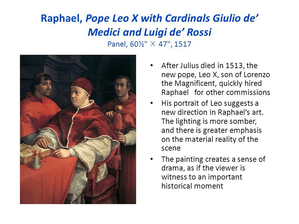 Raphael, Pope Leo X with Cardinals Giulio de Medici and Luigi de Rossi Panel, 60½