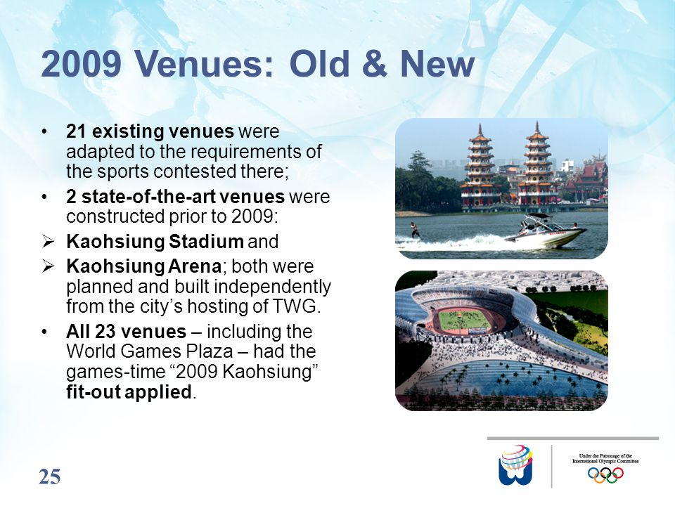 25 2009 Venues: Old & New 21 existing venues were adapted to the requirements of the sports contested there; 2 state-of-the-art venues were constructe