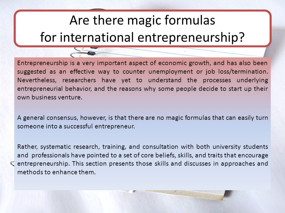 Entrepreneurship is a very important aspect of economic growth, and has also been suggested as an effective way to counter unemployment or job loss/te