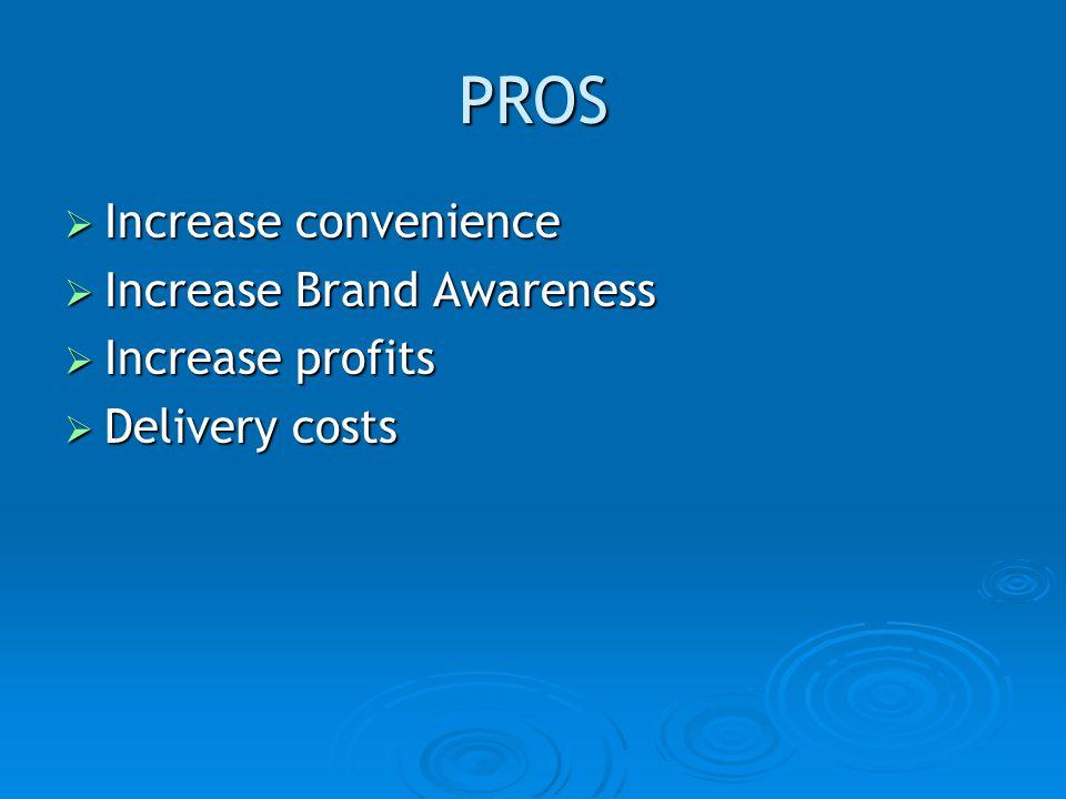 PROS Increase convenience Increase convenience Increase Brand Awareness Increase Brand Awareness Increase profits Increase profits Delivery costs Delivery costs