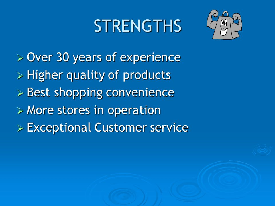 STRENGTHS Over 30 years of experience Over 30 years of experience Higher quality of products Higher quality of products Best shopping convenience Best