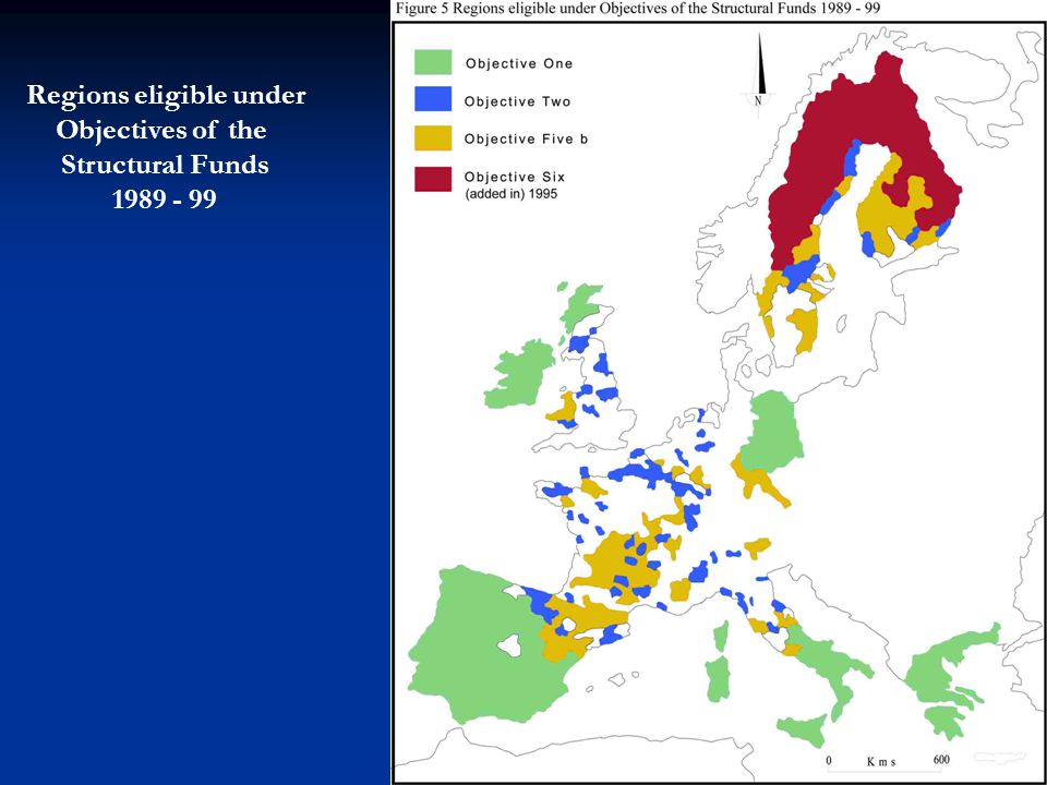 Regions eligible under Objectives of the Structural Funds 1989 - 99