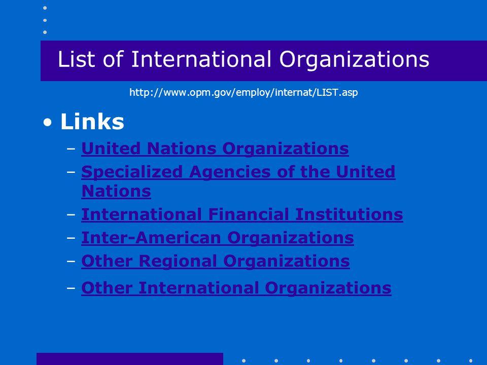 List of International Organizations http://www.opm.gov/employ/internat/LIST.asp Links –United Nations OrganizationsUnited Nations Organizations –Speci