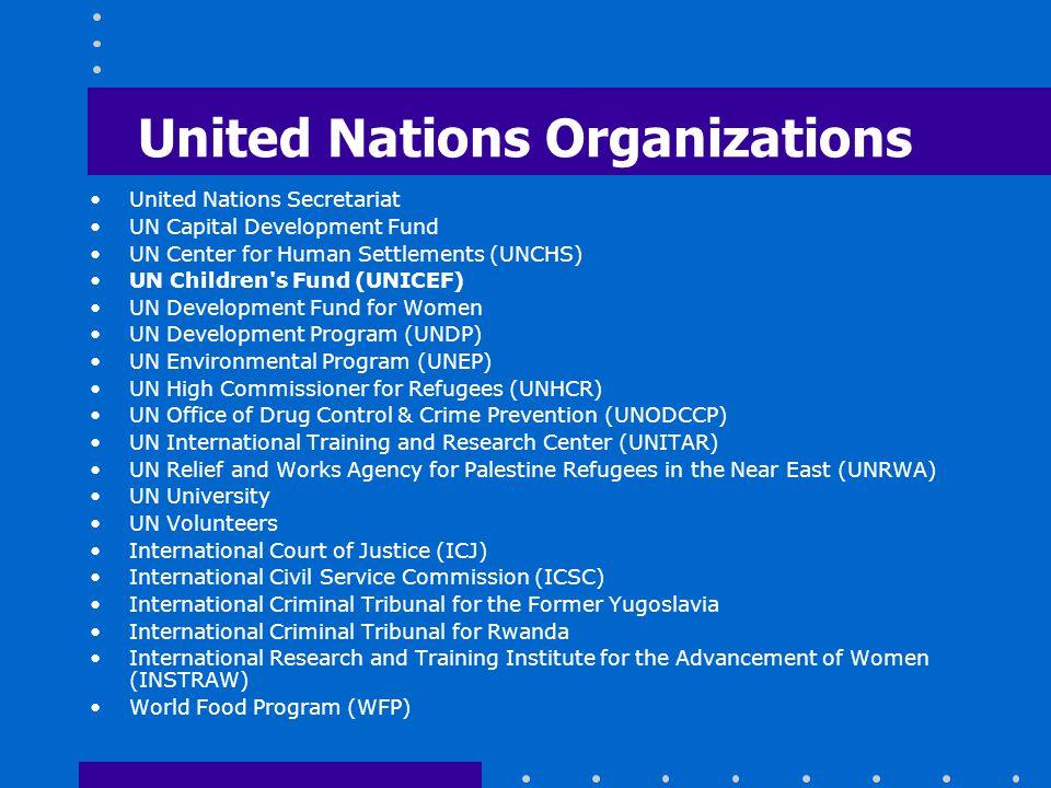 United Nations Organizations United Nations Secretariat UN Capital Development Fund UN Center for Human Settlements (UNCHS) UN Children's Fund (UNICEF