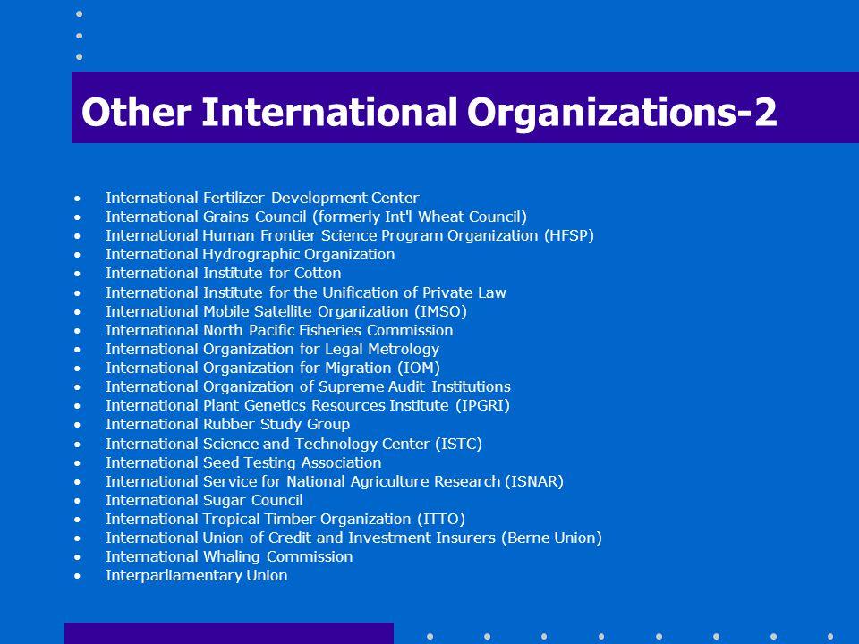 Other International Organizations-2 International Fertilizer Development Center International Grains Council (formerly Int'l Wheat Council) Internatio