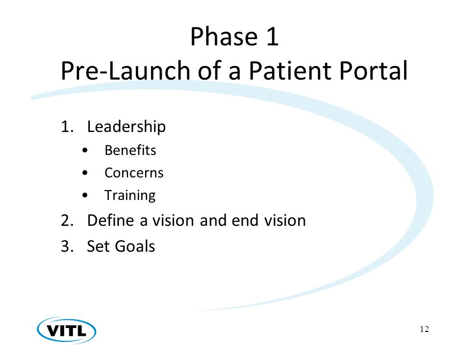 Phase 1 Pre-Launch of a Patient Portal 1.Leadership Benefits Concerns Training 2.Define a vision and end vision 3.Set Goals 12