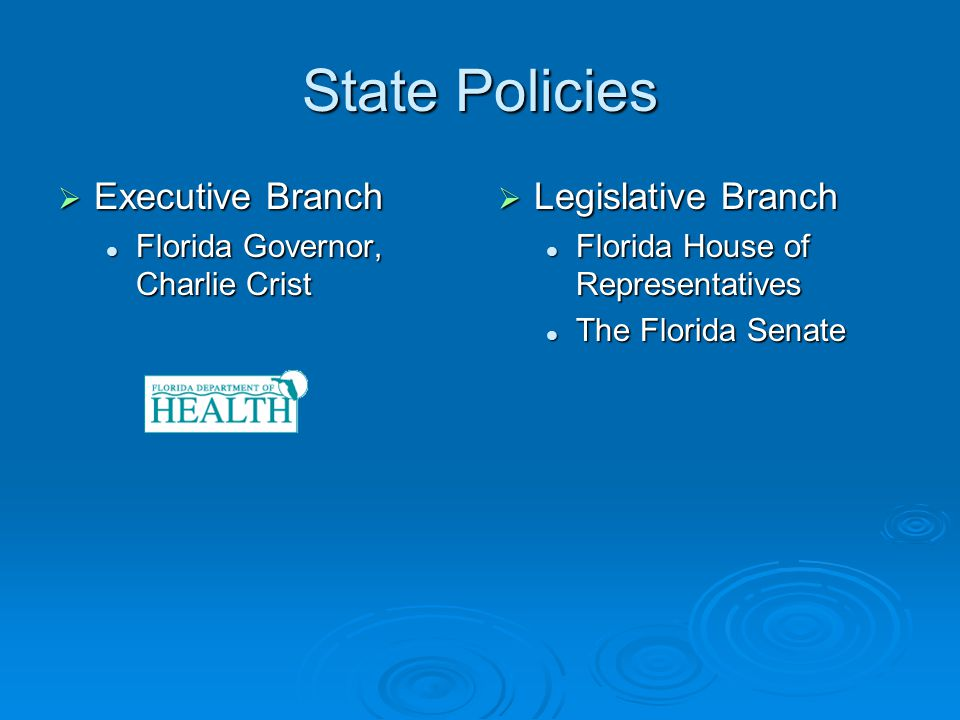 State Policies Executive Branch Executive Branch Florida Governor, Charlie Crist Florida Governor, Charlie Crist Legislative Branch Legislative Branch Florida House of Representatives The Florida Senate