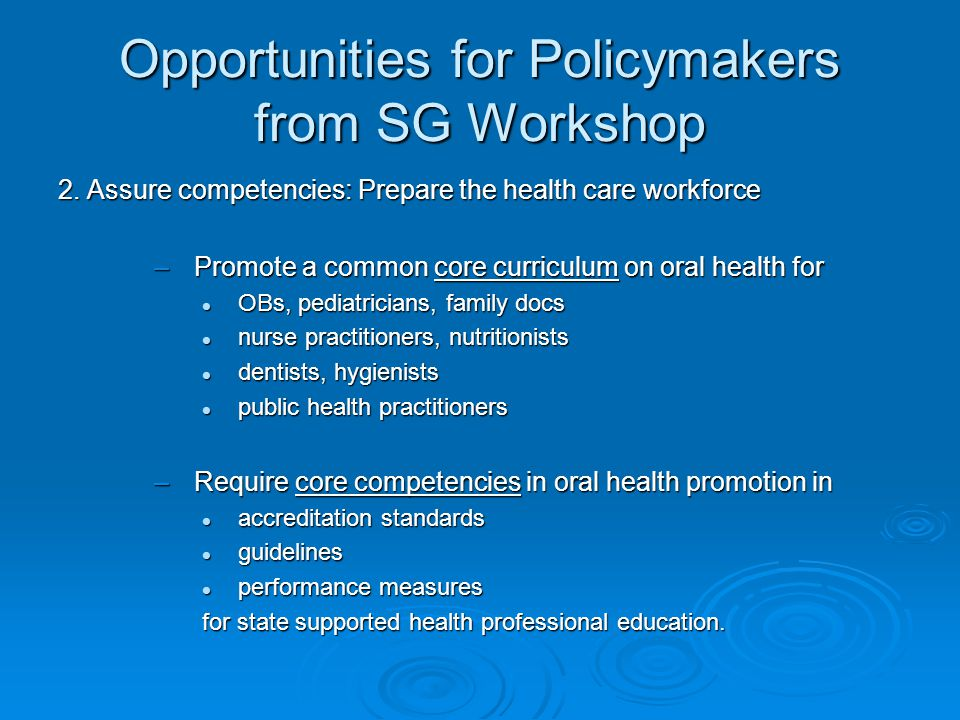 Opportunities for Policymakers from SG Workshop 3.