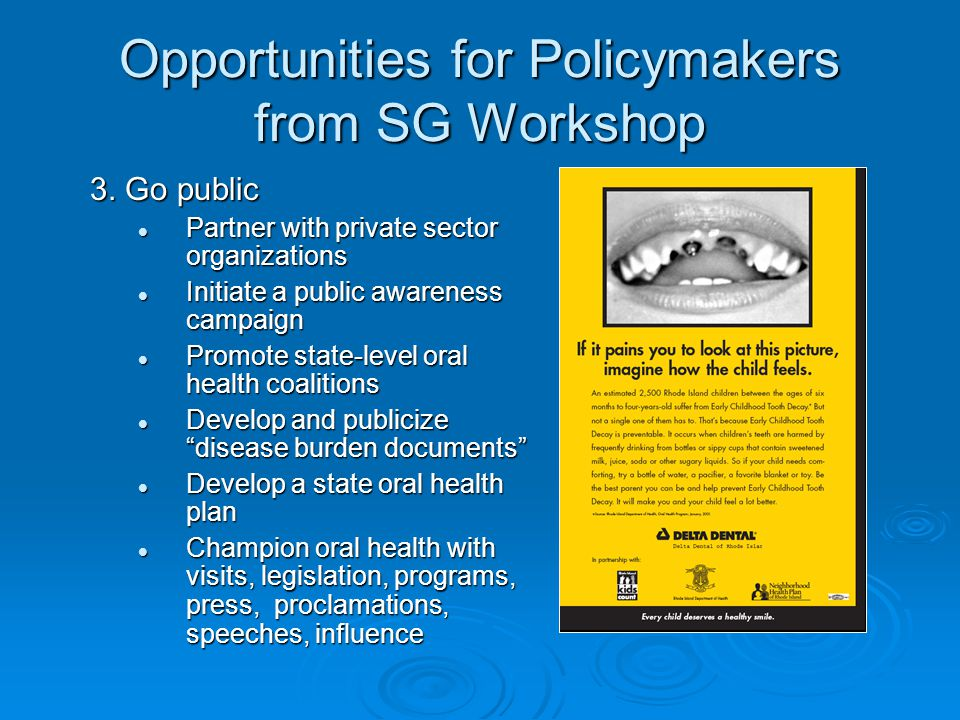 Opportunities for Policymakers from SG Workshop 4.