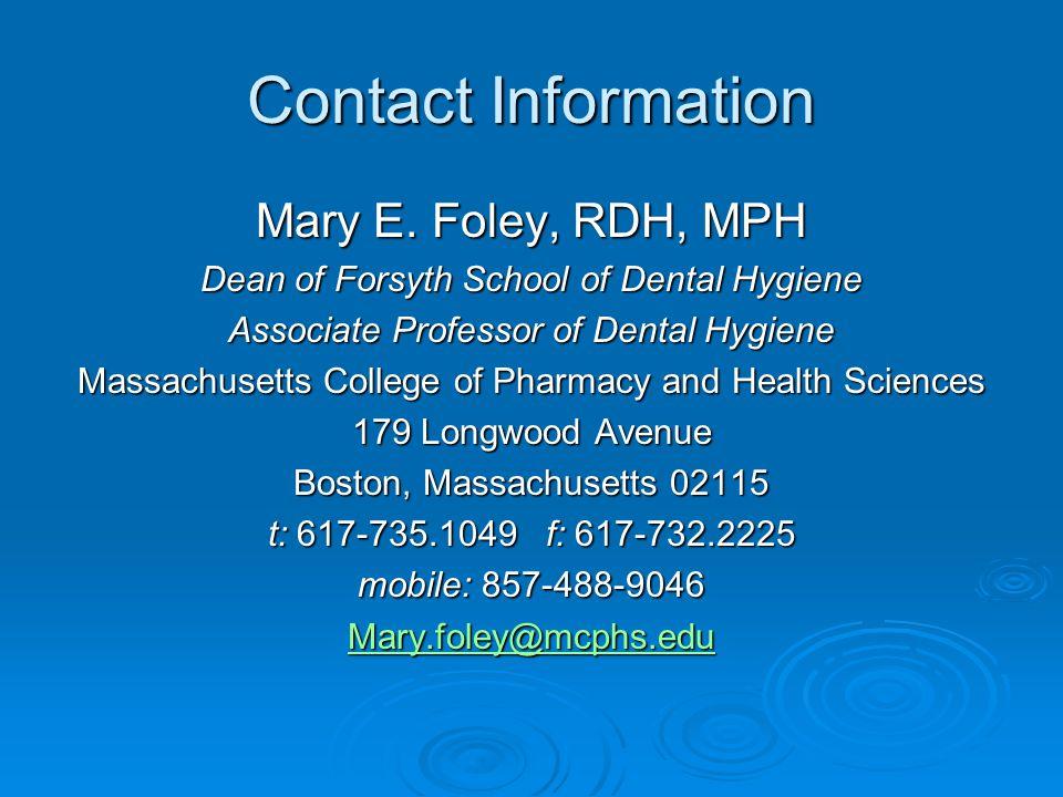 Contact Information Mary E.
