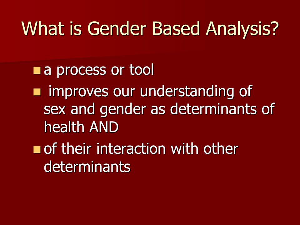 What is Gender Based Analysis.