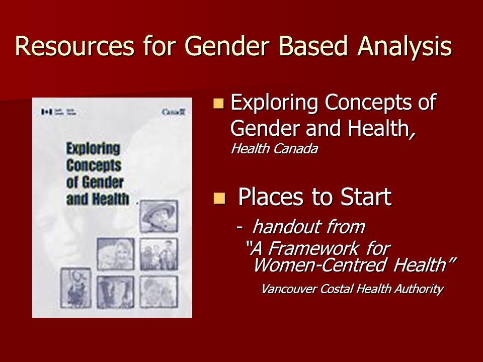 Resources for Gender Based Analysis Exploring Concepts of Gender and Health, Health Canada Exploring Concepts of Gender and Health, Health Canada Places to Start Places to Start -handout from A Framework for Women-Centred Health Vancouver Costal Health Authority