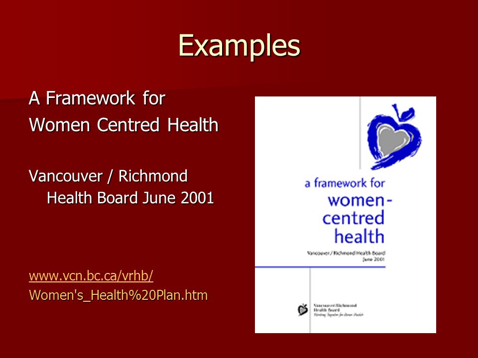 Examples A Framework for Women Centred Health Vancouver / Richmond Health Board June 2001 www.vcn.bc.ca/vrhb/Women's_Health%20Plan.htm