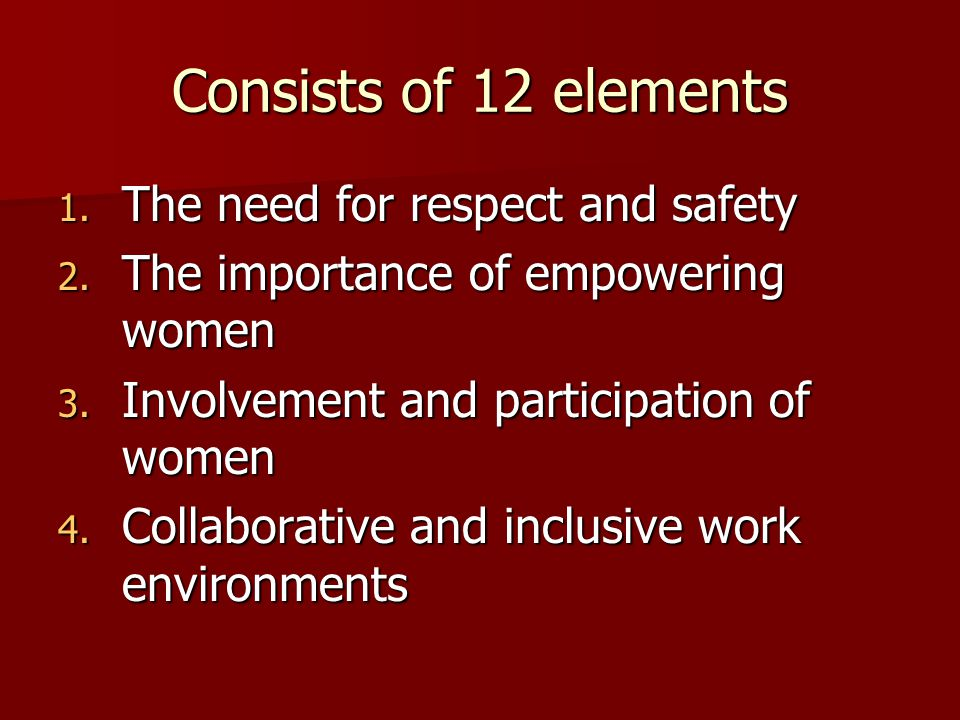 Consists of 12 elements 1. The need for respect and safety 2. The importance of empowering women 3. Involvement and participation of women 4. Collabor