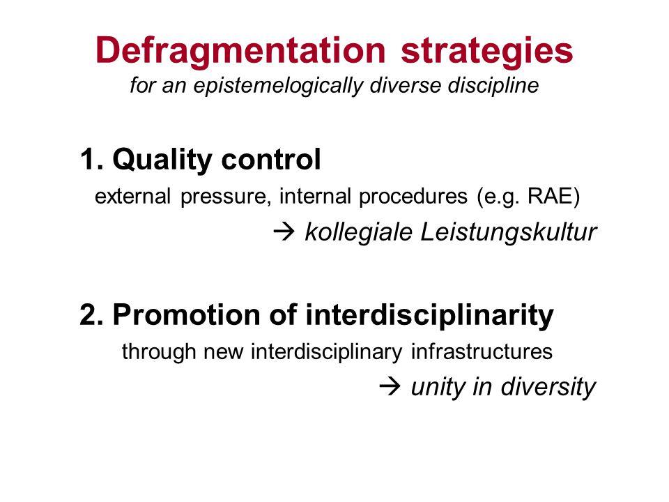 Defragmentation strategies for an epistemelogically diverse discipline 1.