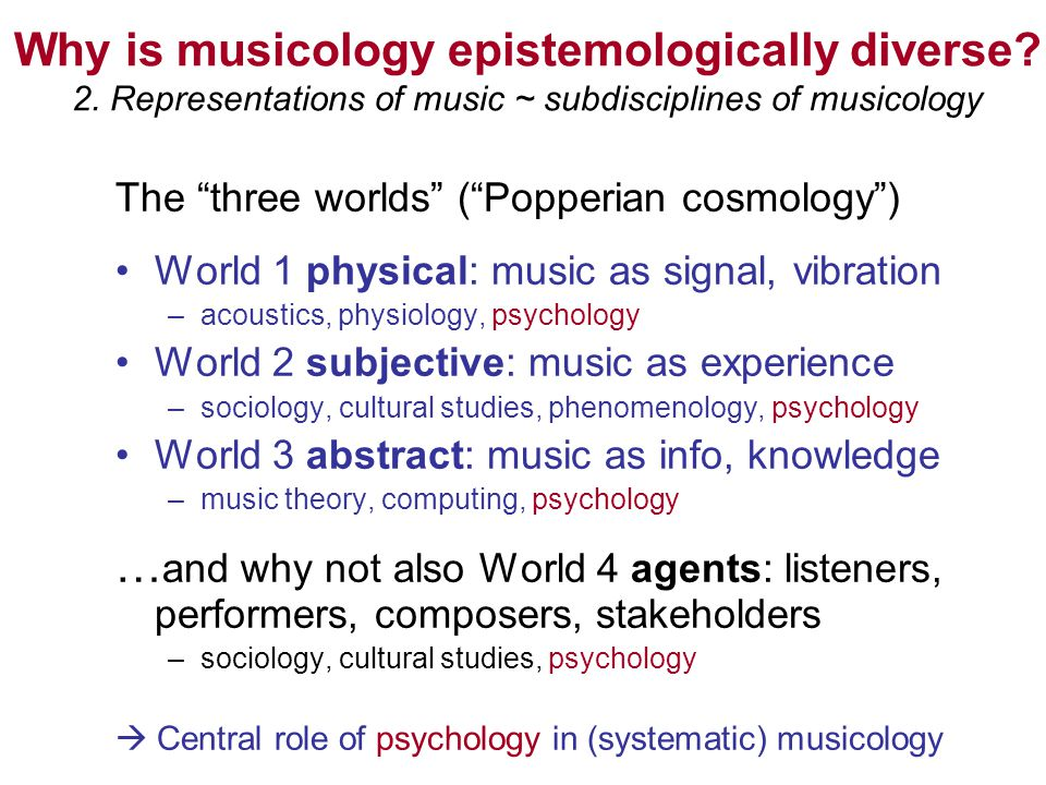 Why is musicology epistemologically diverse? 2. Representations of music ~ subdisciplines of musicology The three worlds (Popperian cosmology) World 1