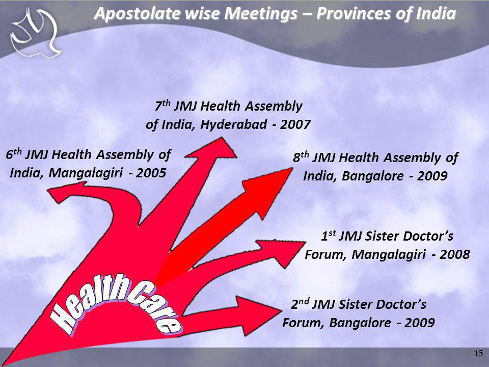 6 th JMJ Health Assembly of India, Mangalagiri - 2005 7 th JMJ Health Assembly of India, Hyderabad - 2007 8 th JMJ Health Assembly of India, Bangalore - 2009 1 st JMJ Sister Doctors Forum, Mangalagiri - 2008 2 nd JMJ Sister Doctors Forum, Bangalore - 2009 Apostolate wise Meetings – Provinces of India 15
