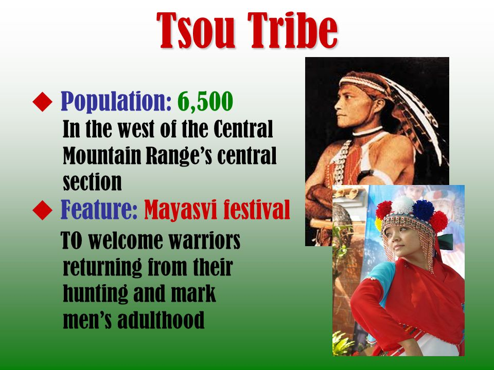 Tsou Tribe Population: 6,500 In the west of the Central Mountain Ranges central section Feature: Mayasvi festival TO welcome warriors returning from their hunting and mark mens adulthood