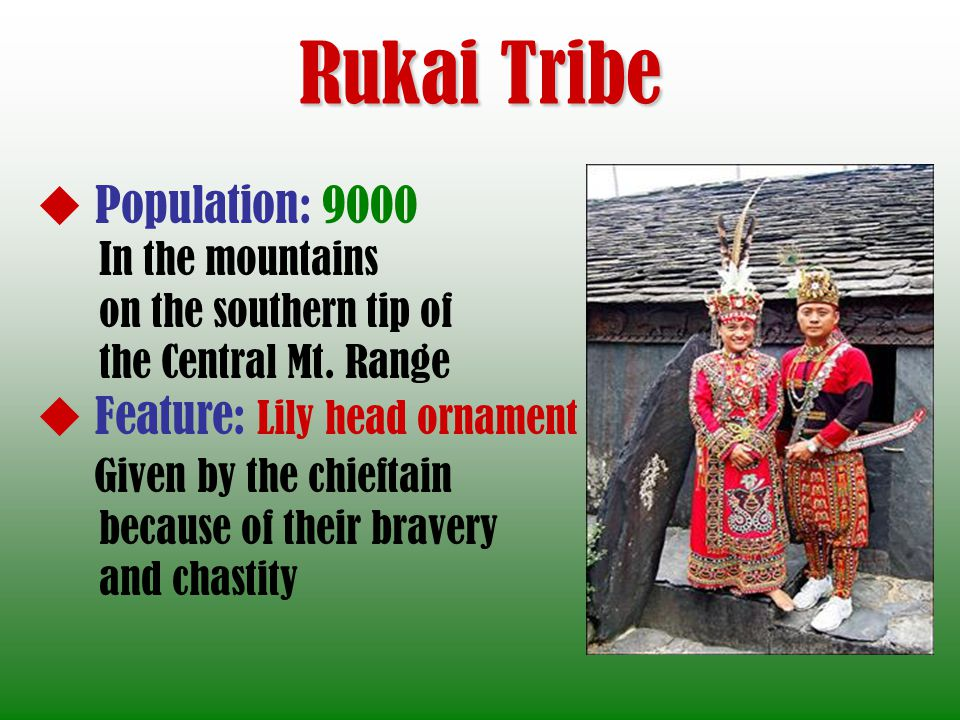Rukai Tribe Population: 9000 In the mountains on the southern tip of the Central Mt. Range Feature: Lily head ornament Given by the chieftain because