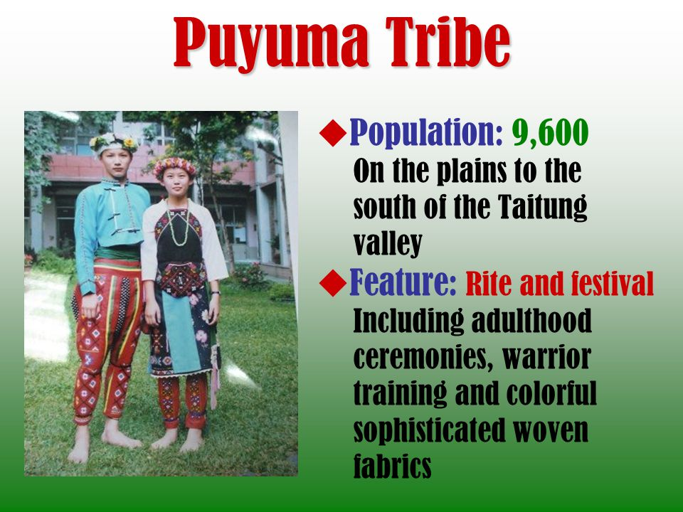 Puyuma Tribe Population: 9,600 On the plains to the south of the Taitung valley Feature: Rite and festival Including adulthood ceremonies, warrior training and colorful sophisticated woven fabrics