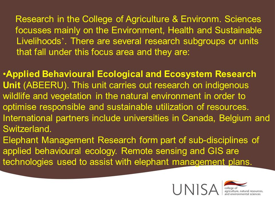 Research in the College of Agriculture & Environm.