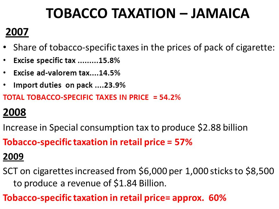 Taxes and Charges Collected from Cigarettes Tax Type200720082012/2013 Financial Year Tariff7,328,281.106,336,712.79 Additional Stamp duty 21,614,500.0214,241,230.51 General Consumption Tax 495,772,884.29699,341,204.16 Special Consumption Tax (AVD) 6,669.1522,724.62 Special Consumption Tax 1,967,274,560.003,609,399,500.00 Environmental Levy1.414,116.512,527,629.84 Excise561,753,177.06200,121,711.86 Standards Compliance Fee 1,493,707.061,516,577.71 Customs User Fee9,948,309.4610,081,004.60 TOTAL3,066,606,204.654,543,588,296.091,250,776,784.71
