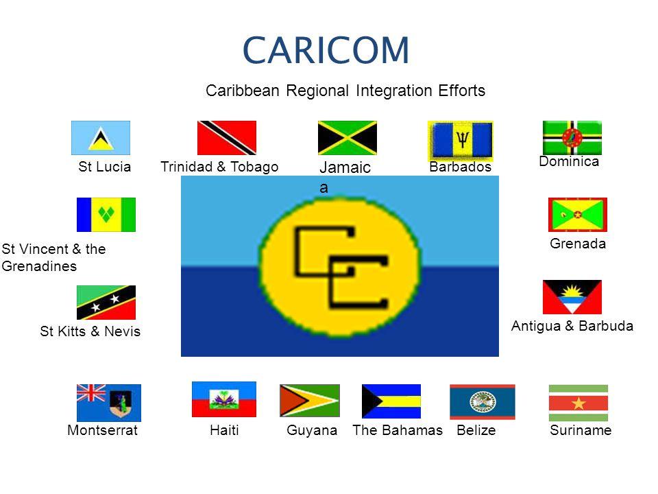 CARICOM Caribbean Regional Integration Efforts Jamaic a Trinidad & TobagoBarbados Dominica Grenada Belize Antigua & Barbuda SurinameThe BahamasGuyanaHaitiMontserrat St Kitts & Nevis St Vincent & the Grenadines St Lucia