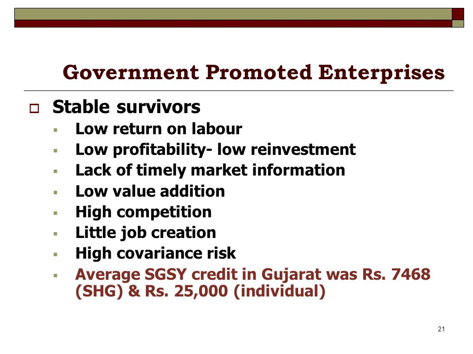 21 Government Promoted Enterprises Stable survivors Low return on labour Low profitability- low reinvestment Lack of timely market information Low value addition High competition Little job creation High covariance risk Average SGSY credit in Gujarat was Rs.