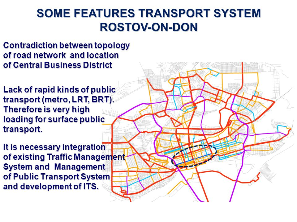 SOME FEATURES TRANSPORT SYSTEM ROSTOV-ON-DON Contradiction between topology of road network and location of Central Business District Lack of rapid ki