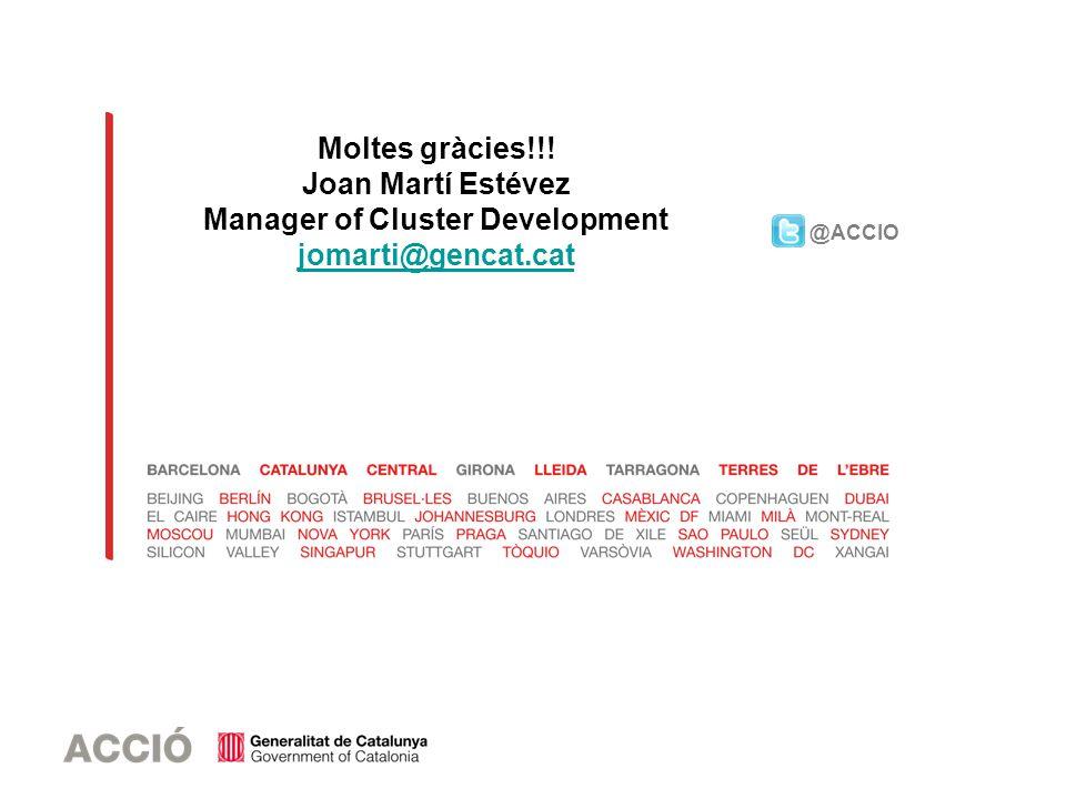 @ACCIO Moltes gràcies!!! Joan Martí Estévez Manager of Cluster Development jomarti@gencat.cat