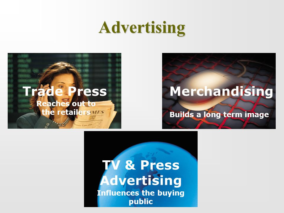 Advertising Trade Press Reaches out to the retailers TV & Press Advertising Influences the buying public Merchandising Builds a long term image