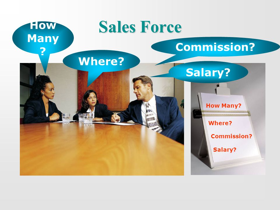 Sales Force How Many? Where? Commission? Salary? How Many ? Where? Commission? Salary?