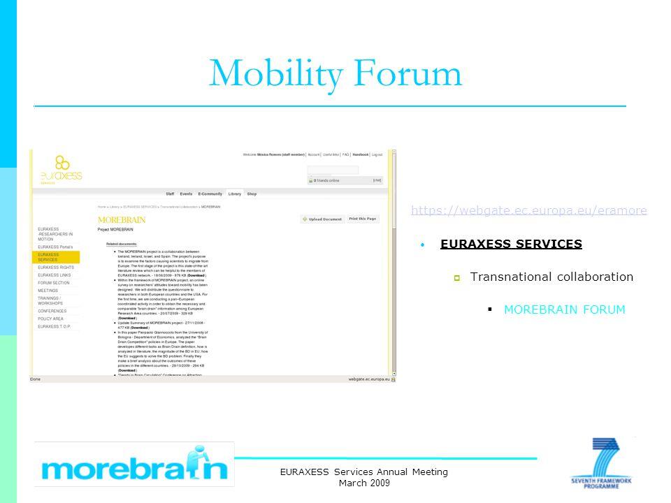 EURAXESS Services Annual Meeting March 2009 Mobility Forum https://webgate.ec.europa.eu/eramore EURAXESS SERVICES Transnational collaboration MOREBRAIN FORUM