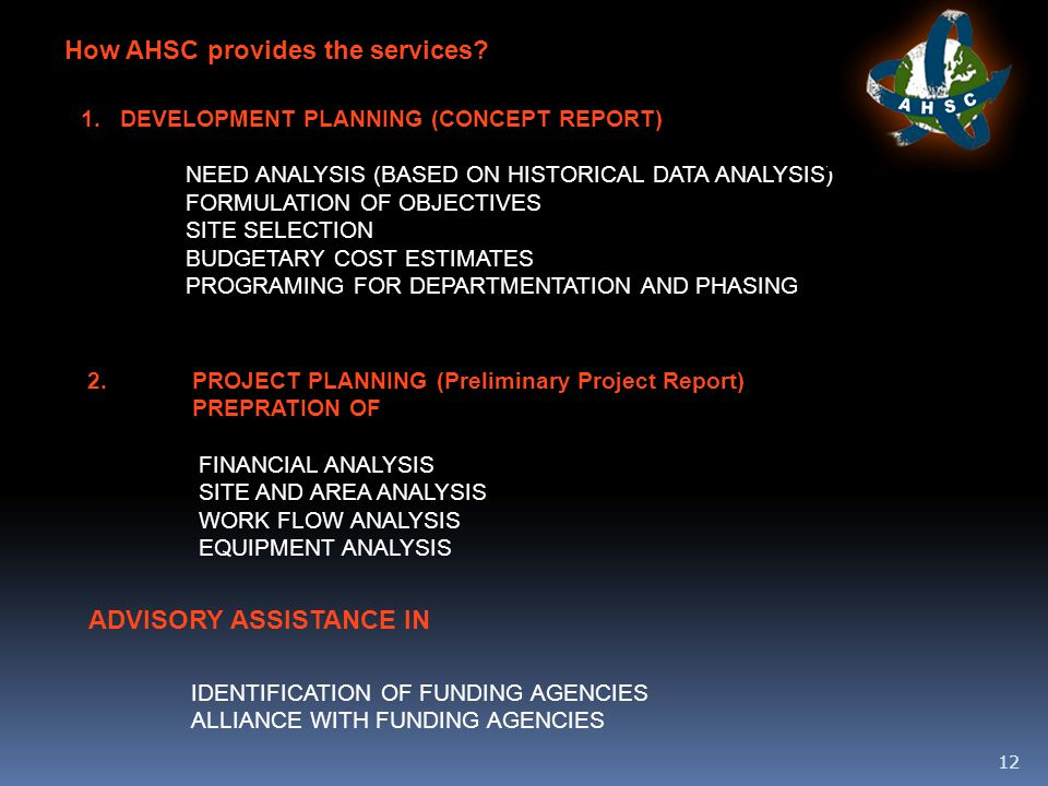 12 How AHSC provides the services.