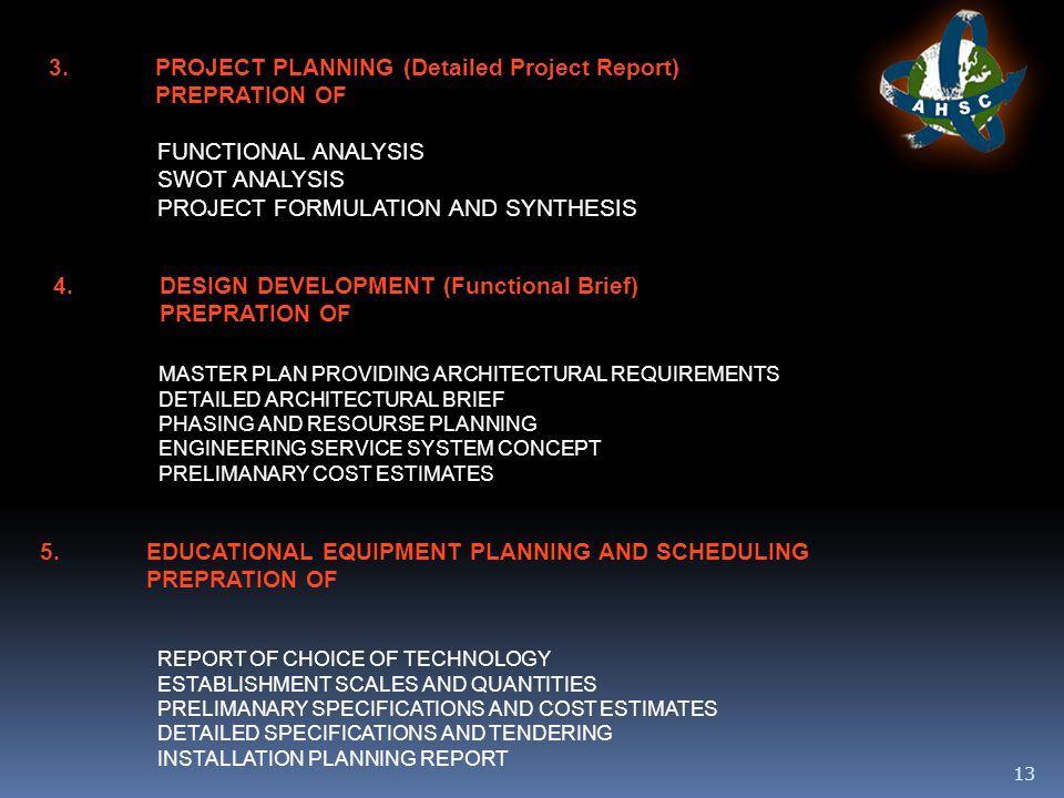 13 3.PROJECT PLANNING (Detailed Project Report) PREPRATION OF FUNCTIONAL ANALYSIS SWOT ANALYSIS PROJECT FORMULATION AND SYNTHESIS 4.DESIGN DEVELOPMENT (Functional Brief) PREPRATION OF MASTER PLAN PROVIDING ARCHITECTURAL REQUIREMENTS DETAILED ARCHITECTURAL BRIEF PHASING AND RESOURSE PLANNING ENGINEERING SERVICE SYSTEM CONCEPT PRELIMANARY COST ESTIMATES 5.EDUCATIONAL EQUIPMENT PLANNING AND SCHEDULING PREPRATION OF REPORT OF CHOICE OF TECHNOLOGY ESTABLISHMENT SCALES AND QUANTITIES PRELIMANARY SPECIFICATIONS AND COST ESTIMATES DETAILED SPECIFICATIONS AND TENDERING INSTALLATION PLANNING REPORT