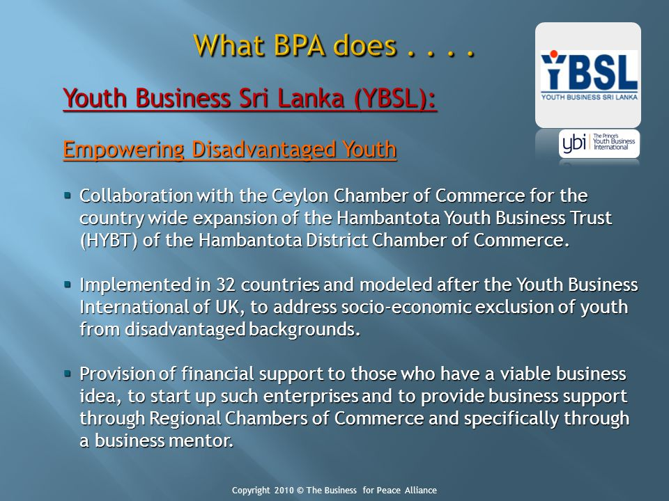 Youth Business Sri Lanka (YBSL): Empowering Disadvantaged Youth Collaboration with the Ceylon Chamber of Commerce for the country wide expansion of th
