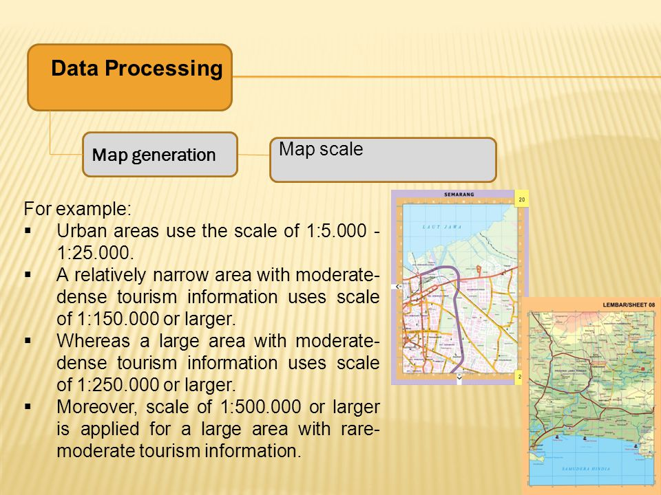 Data Processing Map generation Map scale For example: Urban areas use the scale of 1:5.000 - 1:25.000.