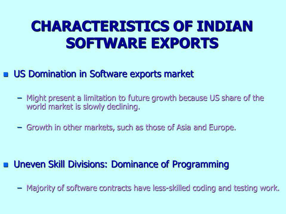 CHARACTERISTICS OF INDIAN SOFTWARE EXPORTS n US Domination in Software exports market –Might present a limitation to future growth because US share of the world market is slowly declining.