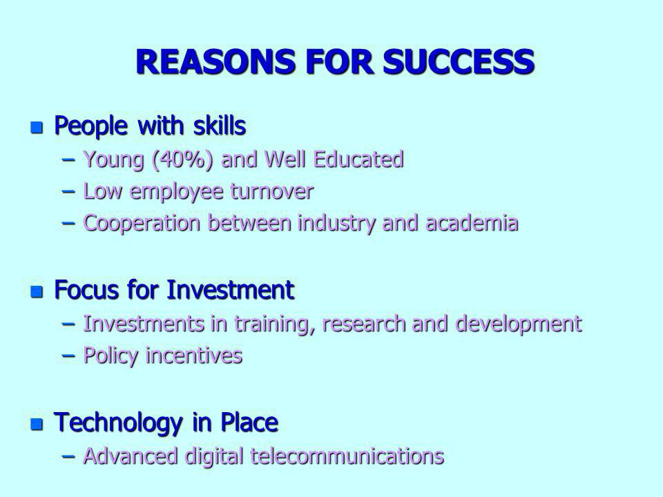REASONS FOR SUCCESS n People with skills –Young (40%) and Well Educated –Low employee turnover –Cooperation between industry and academia n Focus for Investment –Investments in training, research and development –Policy incentives n Technology in Place –Advanced digital telecommunications