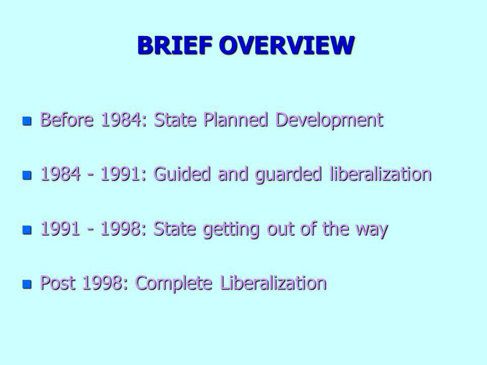 BRIEF OVERVIEW n Before 1984: State Planned Development n 1984 - 1991: Guided and guarded liberalization n 1991 - 1998: State getting out of the way n Post 1998: Complete Liberalization