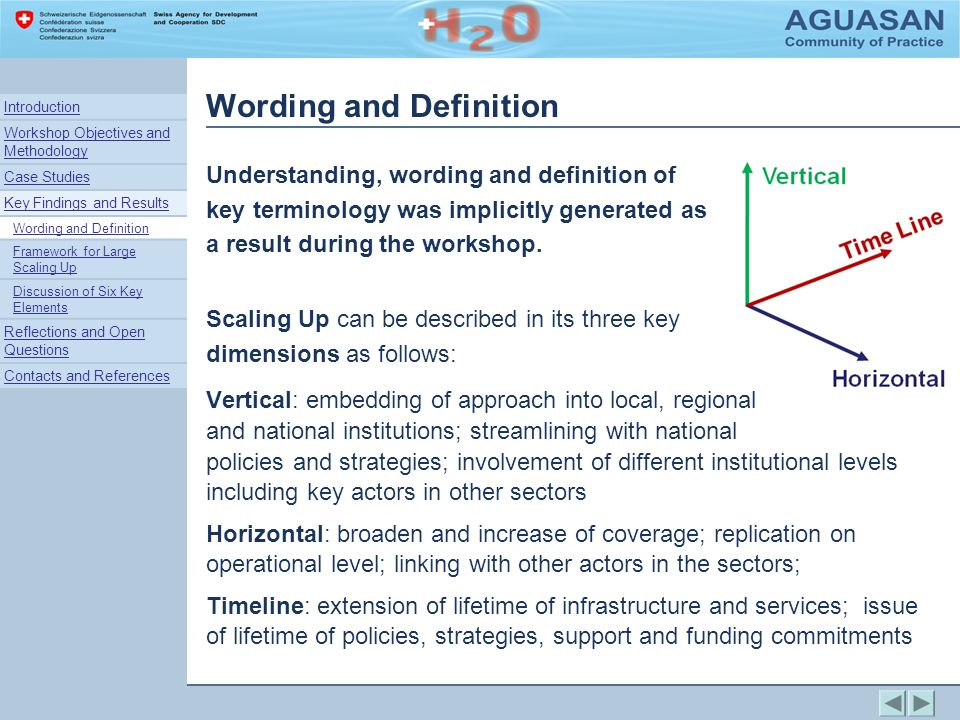 Wording and Definition Vertical: embedding of approach into local, regional and national institutions; streamlining with national policies and strategies; involvement of different institutional levels including key actors in other sectors Horizontal: broaden and increase of coverage; replication on operational level; linking with other actors in the sectors; Timeline: extension of lifetime of infrastructure and services; issue of lifetime of policies, strategies, support and funding commitments Understanding, wording and definition of key terminology was implicitly generated as a result during the workshop.