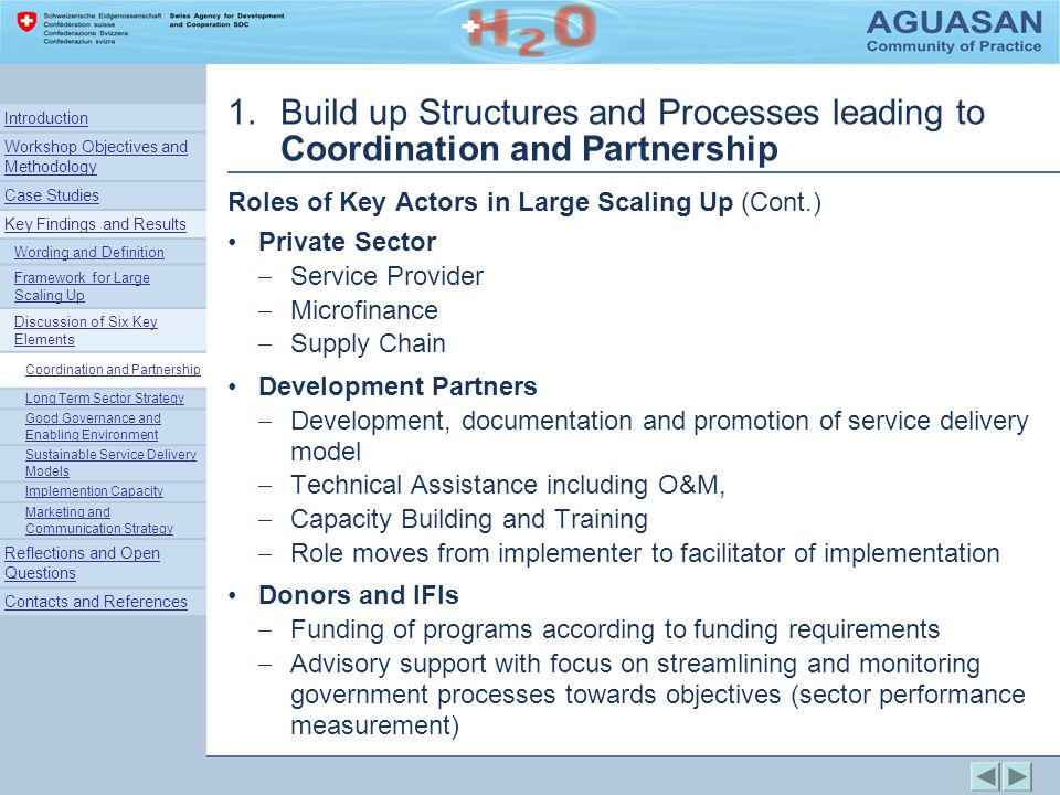 1.Build up Structures and Processes leading to Coordination and Partnership Roles of Key Actors in Large Scaling Up (Cont.) Private Sector Service Provider Microfinance Supply Chain Development Partners Development, documentation and promotion of service delivery model Technical Assistance including O&M, Capacity Building and Training Role moves from implementer to facilitator of implementation Donors and IFIs Funding of programs according to funding requirements Advisory support with focus on streamlining and monitoring government processes towards objectives (sector performance measurement) Introduction Workshop Objectives and Methodology Case Studies Key Findings and Results Wording and Definition Framework for Large Scaling Up Discussion of Six Key Elements Coordination and Partnership Long Term Sector Strategy Good Governance and Enabling Environment Sustainable Service Delivery Models Implemention Capacity Marketing and Communication Strategy Reflections and Open Questions Contacts and References