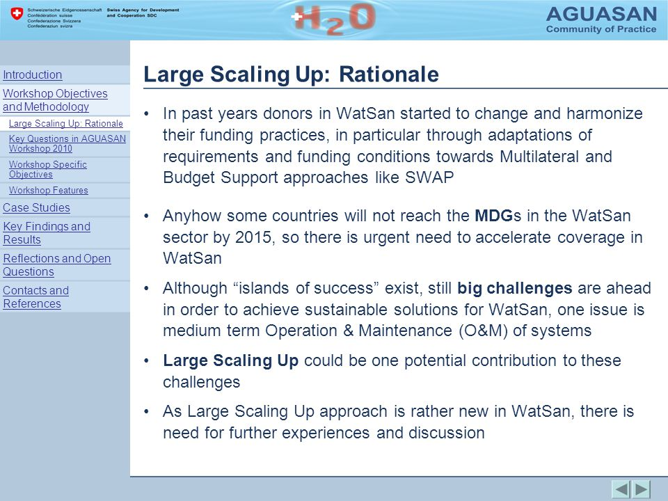 Large Scaling Up: Rationale For the AGUASAN Workshop 2010 Scaling Up has been defined as:..