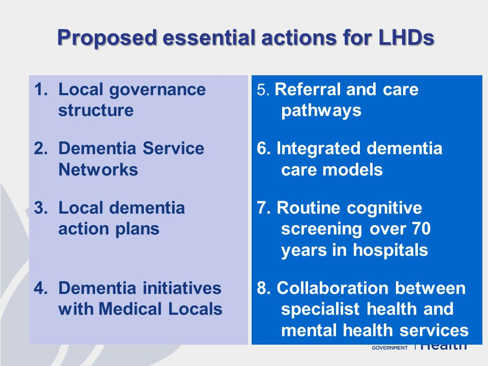 Proposed essential actions for LHDs 1.Local governance structure 2.Dementia Service Networks 3.Local dementia action plans 4.Dementia initiatives with